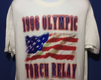 Vintage 1996 Olympic Torch Relay t shirt 90s Atlanta olympics *XL