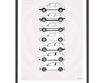 VW Golf GTi Generations Poster