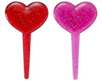 24 Valentine Glitter Heart Translucent Cupcake Picks Cake Toppers Decorations