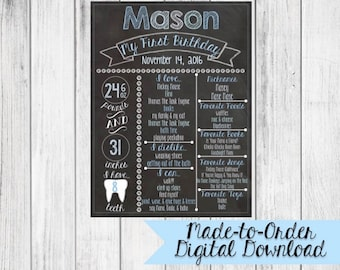 First Birthday Chalkboard Made to Order *DIGITAL FILE*
