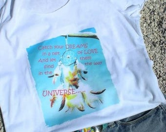 White cotton short-armed T-Shirt with rolled hems and photo print *Catch your dreams...""