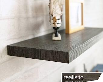 "Floating Wall Shelf 24"" Soft Grain Eco Friendly Decorative Shelving in Black Ash made from non-toxic zBoard LIFETIME WARRANTY (w-s24-ba)"