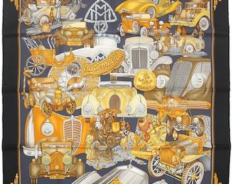 "NIB HERMES SCARF Silk ""Automobile"" by Joachim Metz 90cm Carre 100% Auth"
