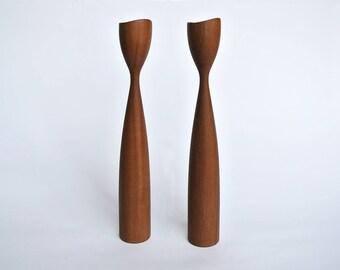 2 tall vintage teak Midcentury Modern Danish Candlesticks