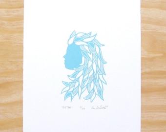 """Woodcut Print - """"Sister"""" - Woman Head - Feminine - Sky Blue - Art Printmaking"""