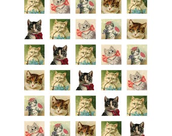 Vintage Victorian Cats 1 inch 25mm Square Collage Sheet Printable Instant Download Jewelry Scrapbook