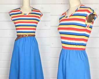 Vintage 1970s Primary Colors Striped Day Dress / Made by Newton Centre / A-Line Skirt