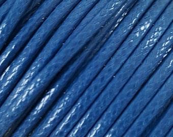 5 Metres 2mm KOREAN Waxed Cotton Cord - Round BLUE Cotton Wax Cord - Cotton Beading Stringing Cord - Australian Seller
