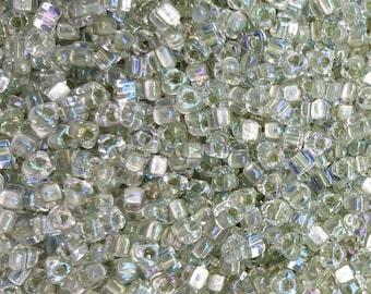 Miyuki 5/0 Triangle Beads  - Colour Lined Foam Green TR5-1135 - 20g