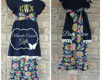 Navy, Floral, Ruffle Pants Outfit, Monogram Girls Outfit, Toddler Outfit, 18M/24M,  2T, 3T, 4T, 5, 6, RTS, Spring Summer Matilda Jane