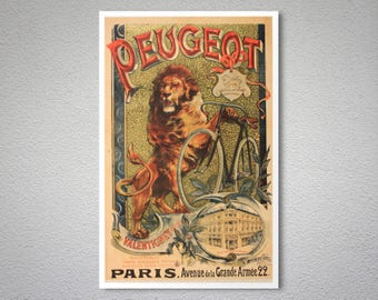 Peugeot Bicycle  Vintage Poster - Poster, Sticker or Canvas Print