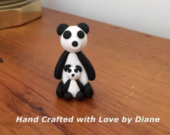 Hand Crafted Polymer Clay Panda Bear and Baby Panda Bear Figurine