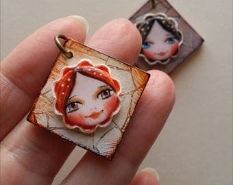 Wooden and polymer clay pendant handpainted-Wood & polymer clay pendant handmade and handpainted-25 mm-AC008