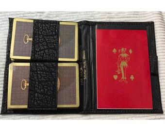 Vintage 1970's bridge set cards, pad and case