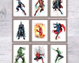 Superhero Wall Art superhero wall decor | etsy