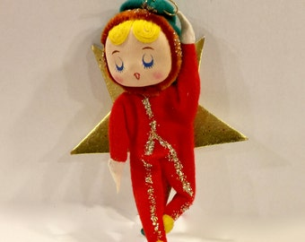 Vintage Christmas Elf Ornament, Pixie with Gold Star, Mid Century Kitsch, Stockinette Face, Yarn Hair, Gold Glitter, Japan, 1950s