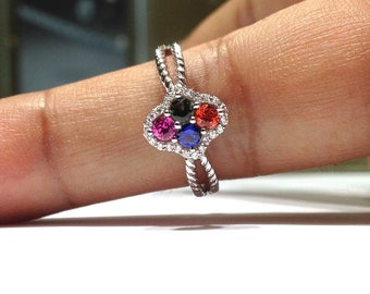 1.00 Carats Genuine Rainbow Sapphire Ring set in 925 Sterling Silver