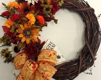 Fall Wreath, Thanksgiving Wreath, Fall Decor, Fall, Thanksgiving Decor, Wreath, Thanksgiving, Holiday Wreath , Happy Thanksgiving, Fall Leaf