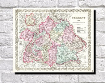 Vintage Map of Germany, Bavaria, Baden, 1855 Colton Map of Germany, Map Wall Art Decor, 9506
