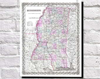 Vintage Map of Mississippi 1855 Colton Map of Mississippi, State Map Wall Art Decor, 9524
