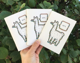 Cute Notebook, Cute Llama Notebook, Handmade Notebooks