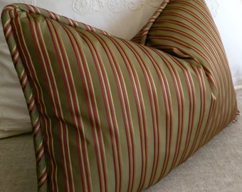 Green Burgundy Gold Olive Green Striped Pillow Cover Lumbar 13x20 14x22