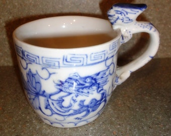 Vintage Blue and White Dragon Handled Cup