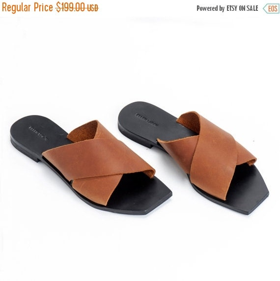 Brown Leather Sandals / Women Open Flat Shoes / Slide Sandals / Slip On Shoes / Summer Open Shoes - Peep Toe Designer Sandals - X