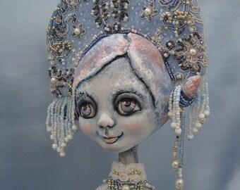 Snow Maiden art doll - Christmas interior figurine - Snow girl ooak poseable doll - Christmas doll as gift