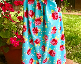 Pink and blue Floral pillowcase sun dress with pink trim Party dress or beach dress made of light weight cotton