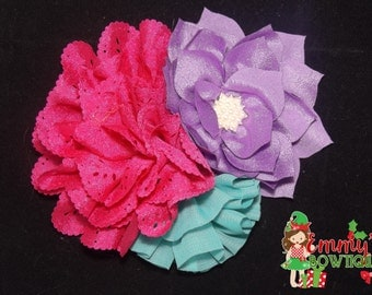 Pink/purple/turquoise Flower Hair Bow, Flower Clip, Flower Cluster Bow, Flower Cluster Hairbow, Flower, Hair Accessories
