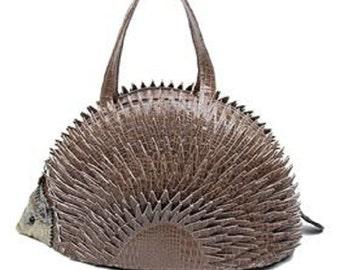Statement Cute Faux Leather Retro 3D Hedgehog Animal Spike Textured Handbag Brown