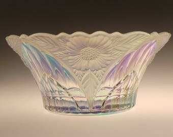 Bohemian Czech Iris Iridescent Art Glass Bowl with Flowers Relieves - AMAZING BOWL