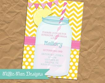 Lemonade Mason Jar Party Invitation - Lemonade Party