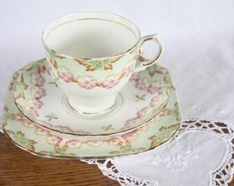 Vintage Tuscan Trio Fine Bone China  ~ Teacup Saucer Plate ~ High Tea Mismatched China Teacups