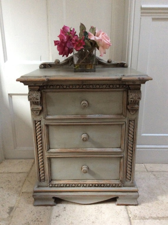 Locker Bedside Table: French Style Grey Painted Bedside Cabinet Hall Table Chest Of