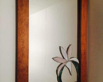 Vintage Stained Glass Mirror With Wood Frame,  Handmade Mirror, Ready To Hang, Victorian Home Decor, Floral Mirror Wall Decor, Flower Mirror