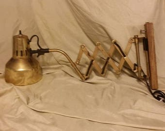 vintage, ARTICULATED WALL LAMP, brass, maker unknown, midcentury, scissor, folding, foldable, accordian, wall, light, lamp