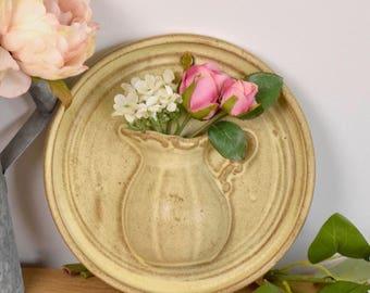 vintage wall vase, rustic stoneware wall plaque with integral vase.
