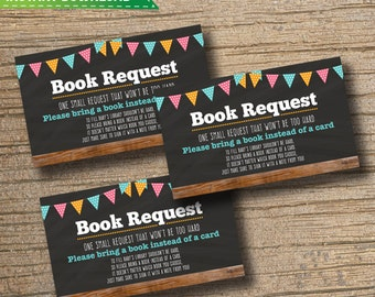 Bring a Book Instead of a Card - Bring a Book Baby Shower Insert - Book Request - Chalkboard Wood / PDF / Instant Download