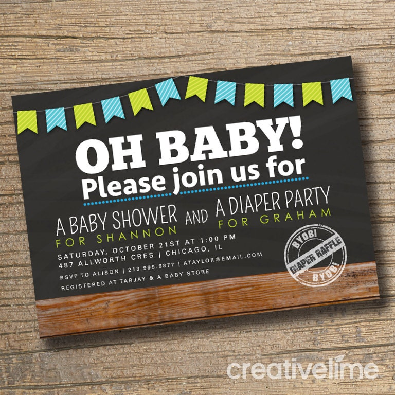 Couples Baby Shower Invitation, Co-ed Baby Shower Invite, Diaper ...