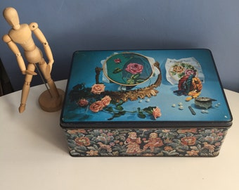 Large Vintage Biscuit Tin by Van Melle Netherlands. Tapestry Needlepoint and Rose Theme.