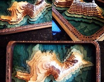 Topographic Mountain cribbage board. Example: Mount Katahdin, Maine