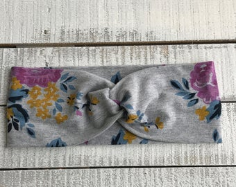 Gray Floral Wide Turban Headband, Turban Twist Headband, Adult Headband