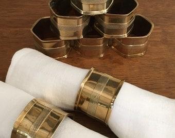 Brass Napkin Rings Set of Eight