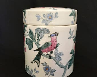Ginger Jar Bird and Roses Pink and White Chinoiserie