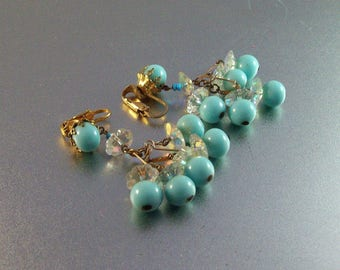 Chandelier Earrings, Crystal Robin's Egg Blue, Glass Bead Clip Ons