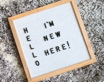 10x10 Letter Board with 3/4in Letters 290 characters — White felt, Oak frame