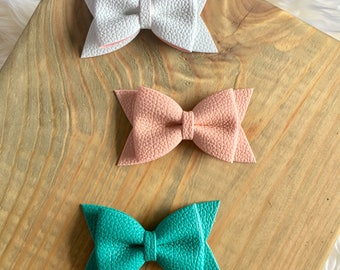 Faux Leather Hair Bows