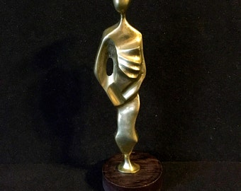 Mid Century Modernist Japanese Bronze Geisha Woman Sculpture Henry Moore